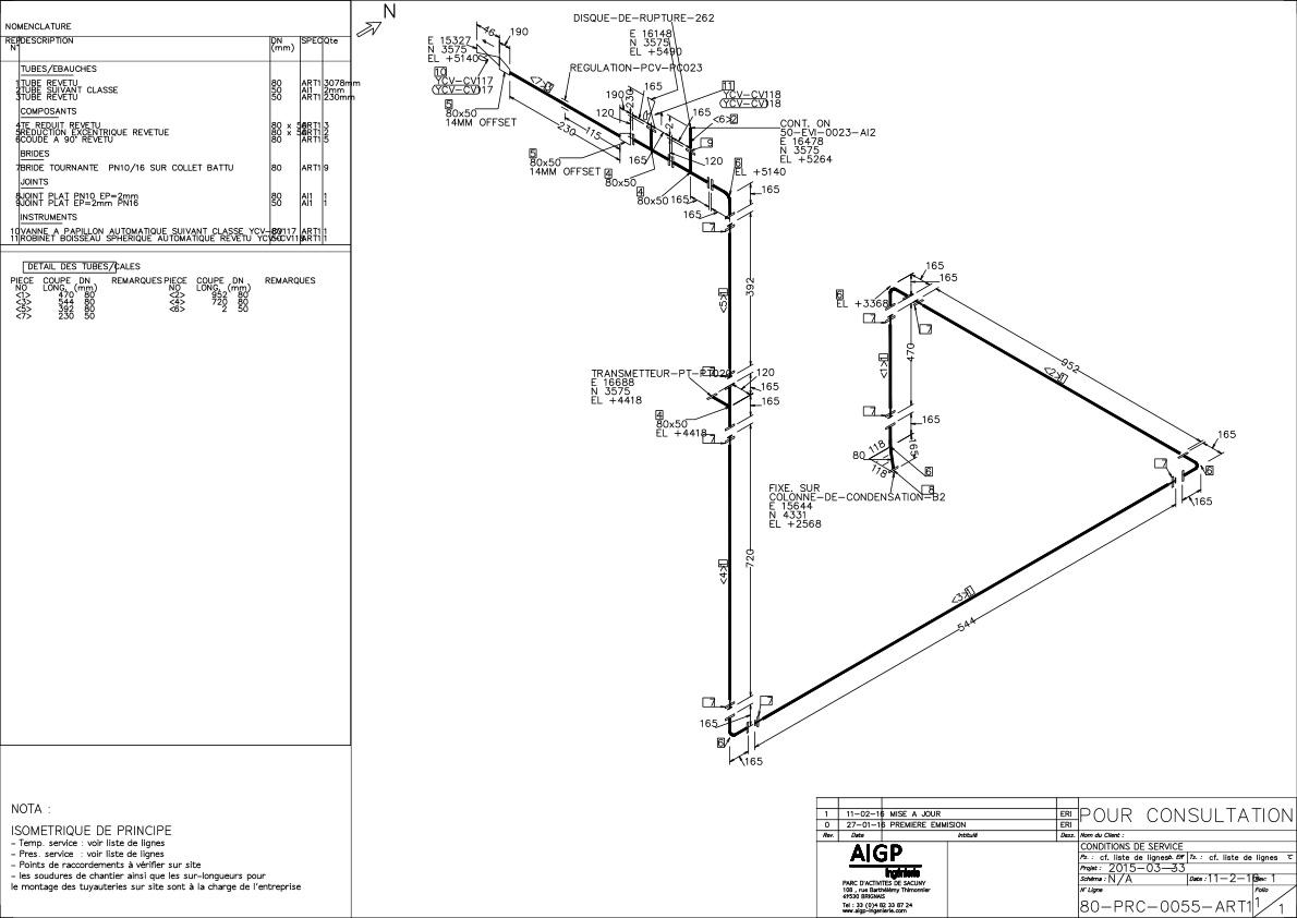 Etude de tuyauterie en bon pour construction