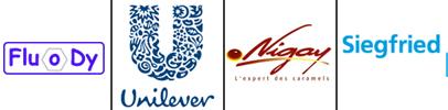 logo clients AIGP Ingénierie : Fluody, Unilever, Nigay et Siegried
