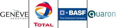 logo clients AIGP Ingénierie : Genève aéroports, Total, BASF et Quaron